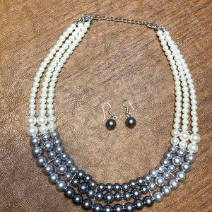 Tri-tone Necklace and Earrings